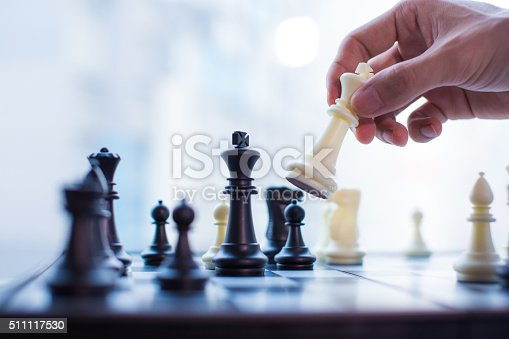 istock Hand moving the king in chess game 511117530