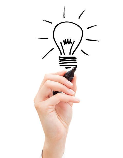 Hand der Geschäftsmann Zeichnung Glühbirne – Foto