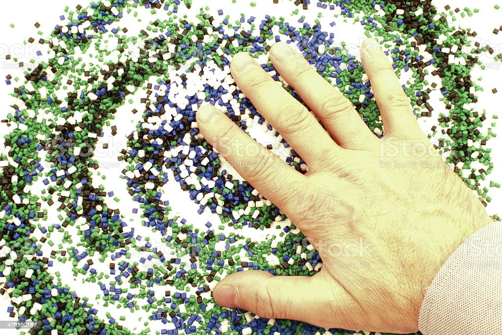 Hand of a man above chemistry royalty-free stock photo