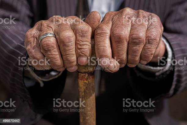 Hand Of A Old Man Holding A Cane Stock Photo - Download Image Now