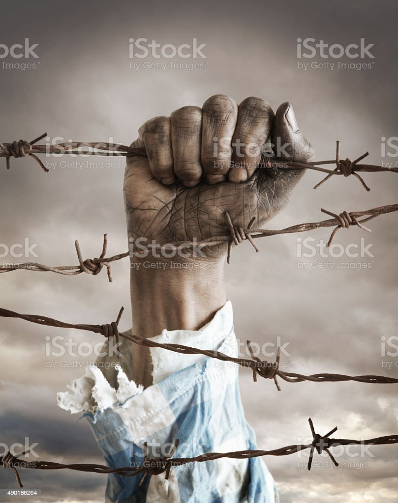 Hand of a refugee behind barbed wire stock photo