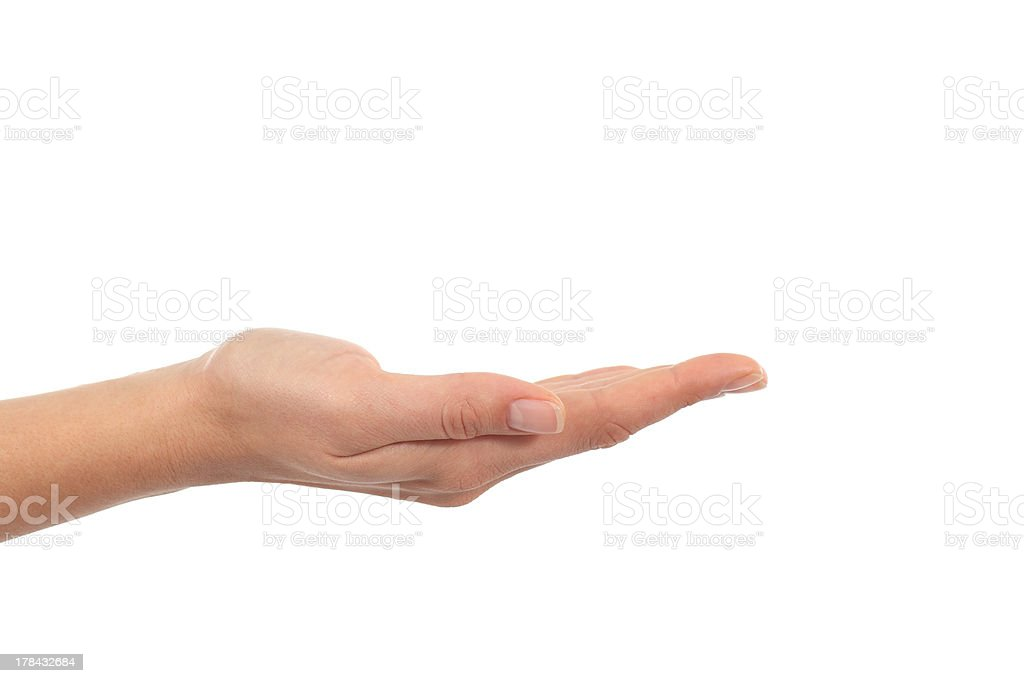 A hand of a woman with palm up stock photo