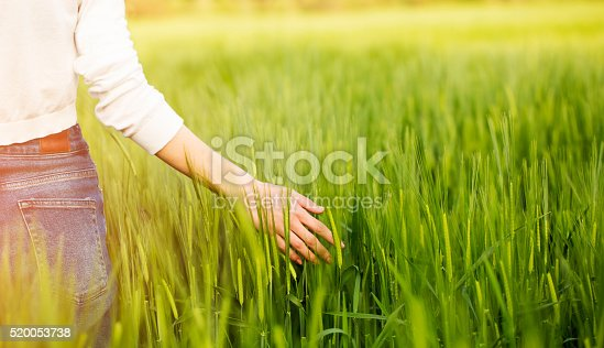 hand of a young woman in the field
