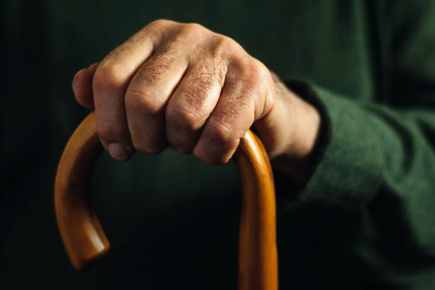 Hand of an old man holding a walking stick stock photo