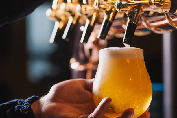 Hand of bartender pouring a lager beer in tap stock photo