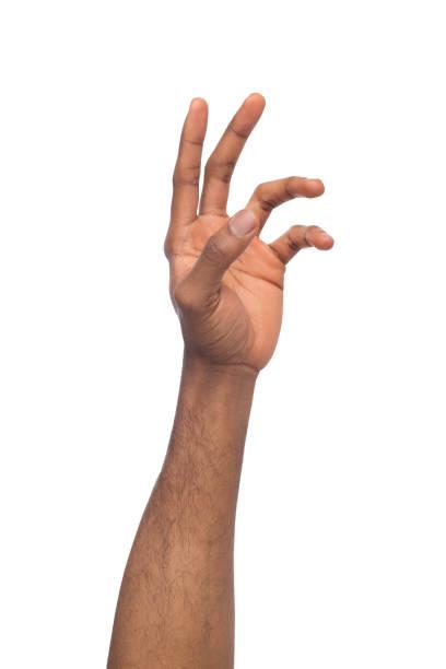 Hand des schwarzen Mann erreichen virtuelles Objekt, isoliert auf weiss – Foto