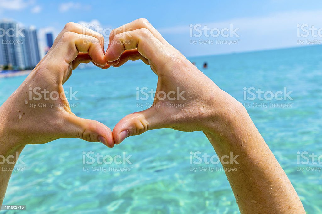 hand of boy forms a heart royalty-free stock photo