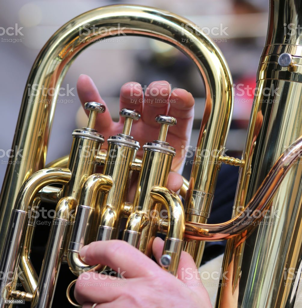 Hand Of Boy Plays The Trombone In The Brass Band Stock Photo & More