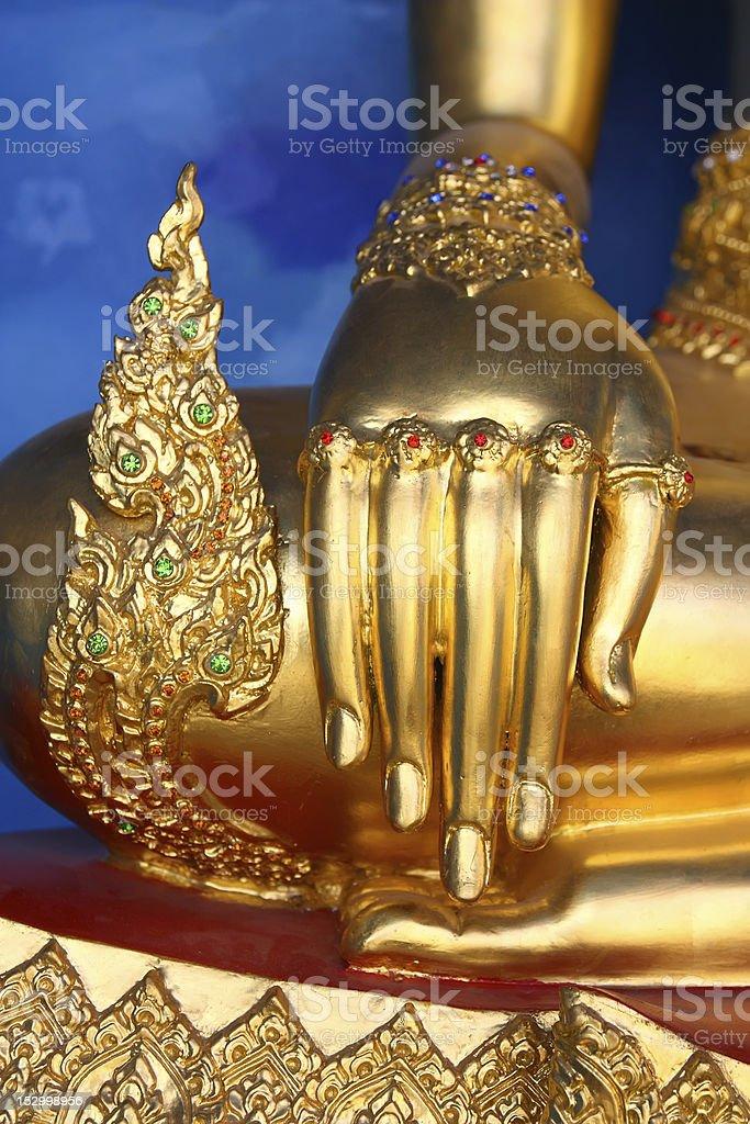 Hand of Buddha statue - vertical royalty-free stock photo