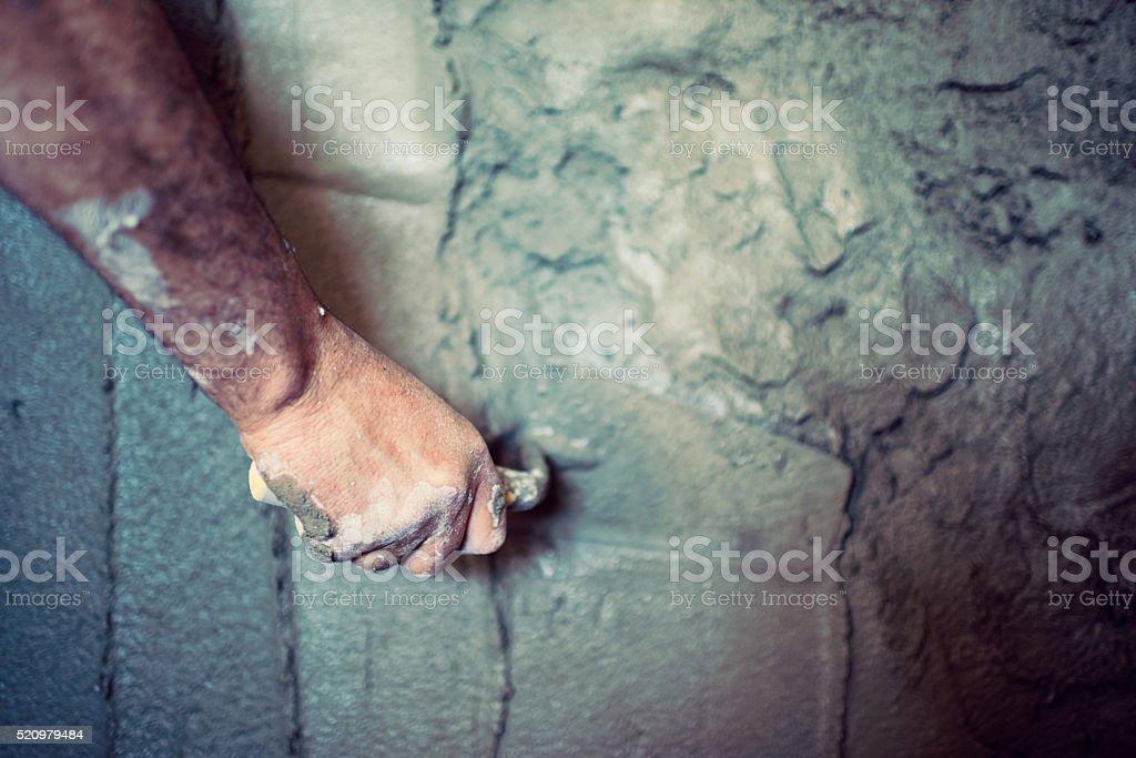 Hand of builder stock photo
