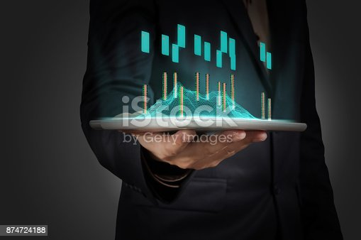 istock Hand of Business Man Hold Digital Wireless Tablet 874724188