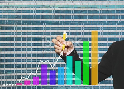 875531516istockphoto hand of business women using yellow pen pointing to arrow of business graph 899367928