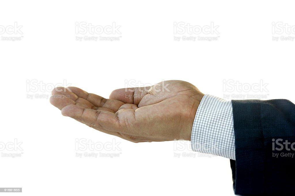 Hand of Businessman Facing Up stock photo