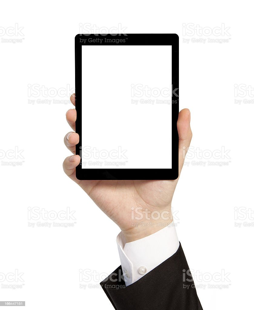 hand of businessman holding a tablet with isolated screen royalty-free stock photo