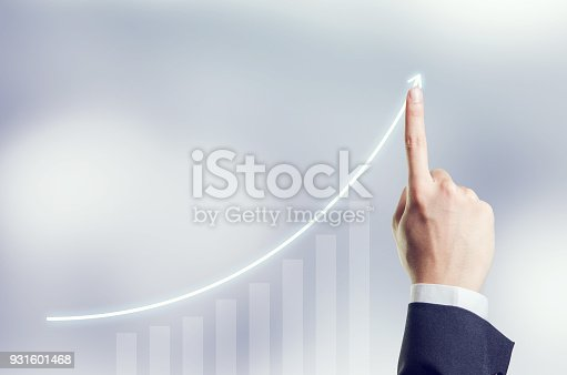 Hand of Businessman plan growth and increase of positive indicators in his business, Development and growth concept.