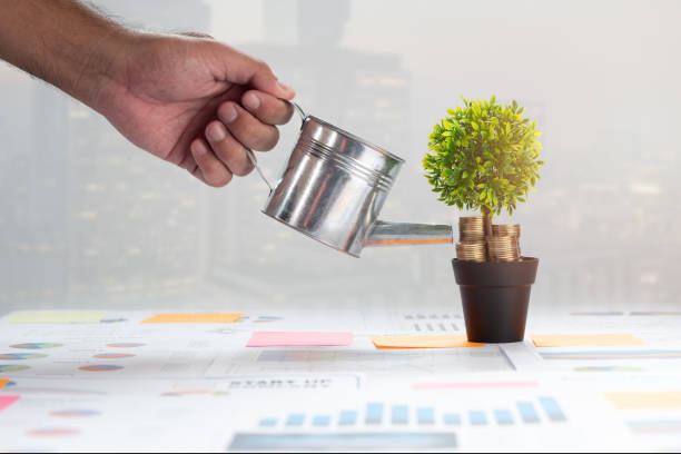 Hand of businessman watering a coins and money growing city in the background. Concept Success, investment and Sustainable Business Growth and stable. stock photo