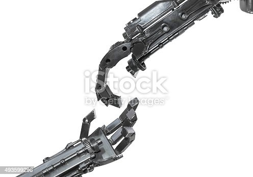 istock Hand of Cyborg sculpture made from scrap metal isolated 493599296