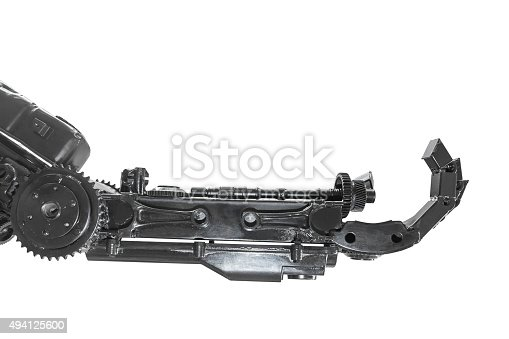 istock Hand of Cyborg sculpture made from scrap metal isolated 494125600