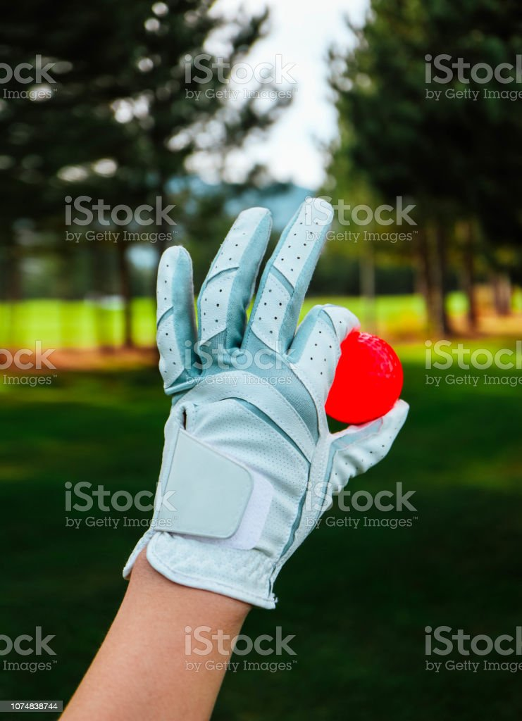 A hand of female golfer with a glove and red ball, close up. Green...