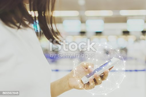 istock Hand of female holding mobile phone, Woman using application on smartphone, Chatting or social network business connection concept 865562848