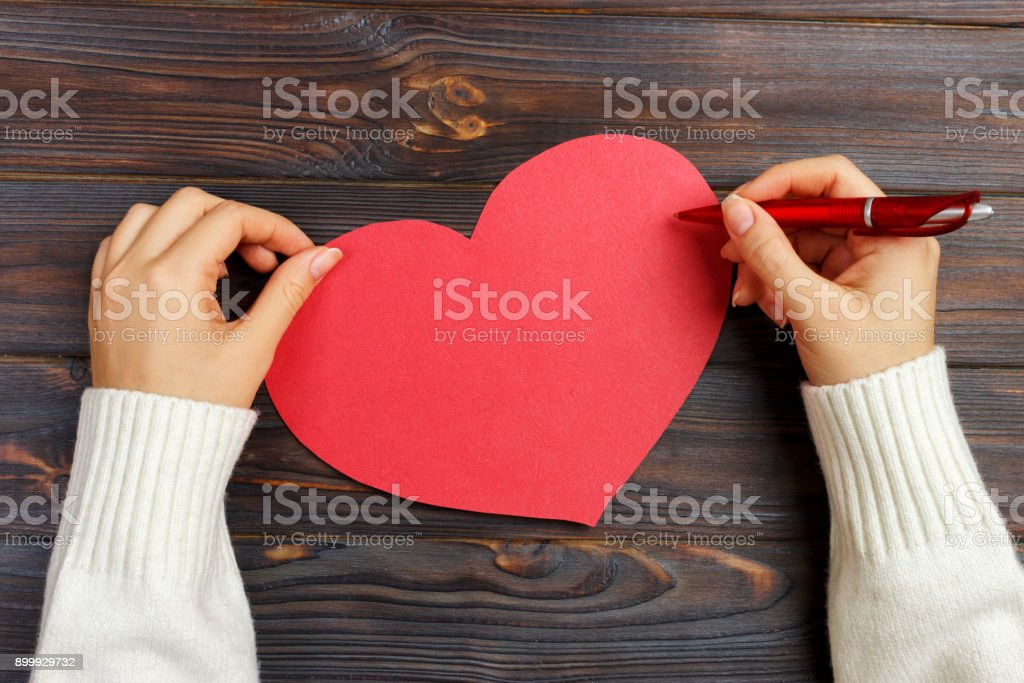 Hand Of Girl Writing Love Letter On Valentine Day Handmade Red ...