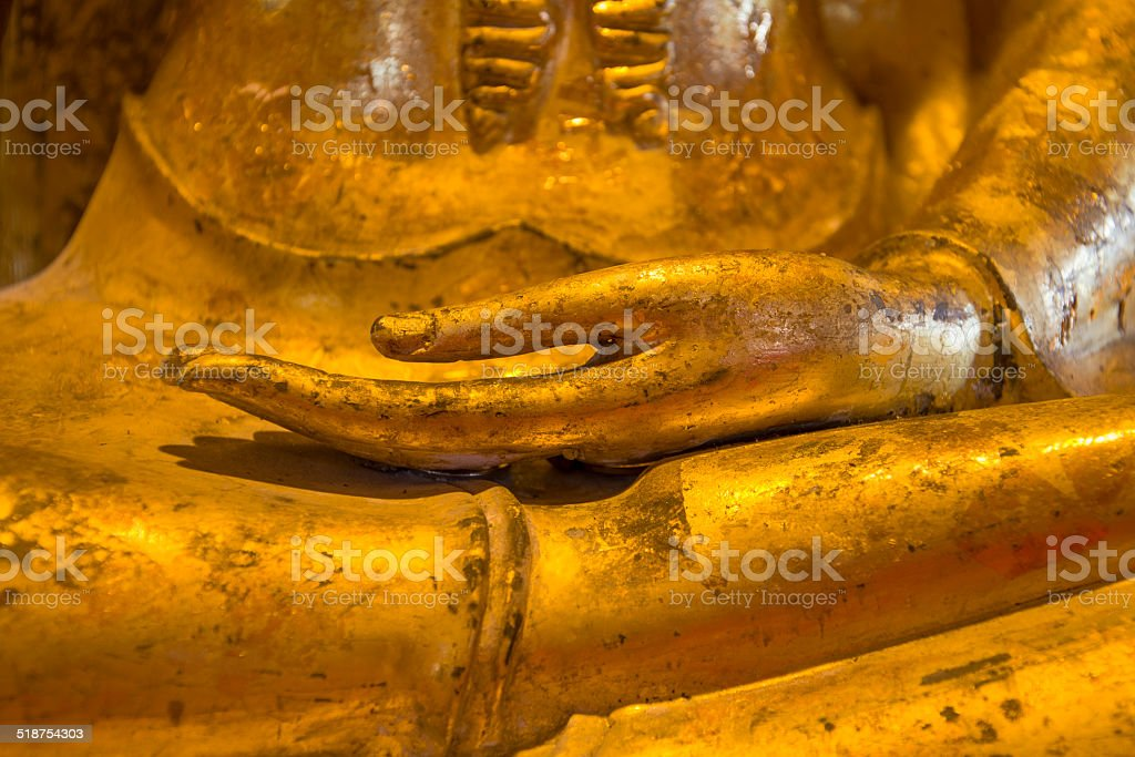 Hand of Golden Buddha Statue royalty-free stock photo