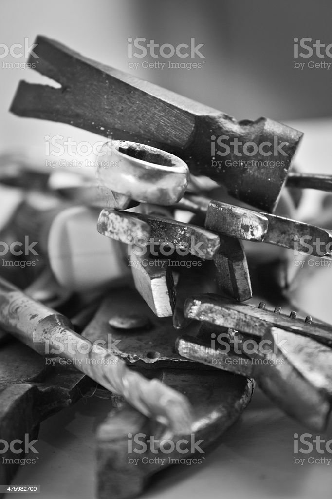 Old tools renovation black and white color.
