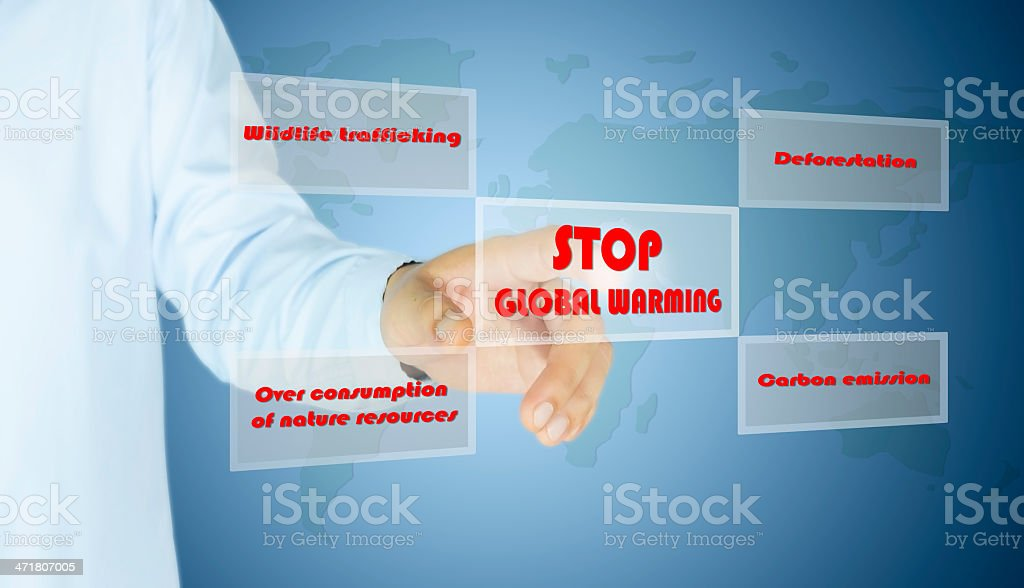 hand of man press button stop global warming stock photo