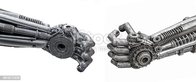 istock Hand of Metallic cyber or robot made from Mechanical ratchets 491672326