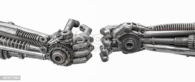 istock Hand of Metallic cyber or robot made from Mechanical ratchets 491672364