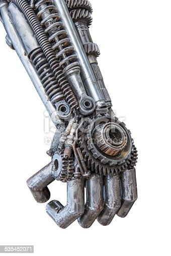 istock Hand of Metallic cyber or robot made from Mechanical ratchets. 535452071