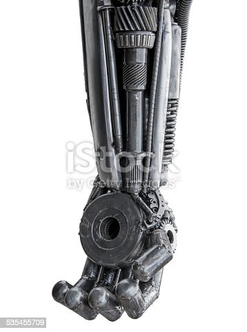 istock Hand of Metallic cyber or robot made from Mechanical ratchets. 535455709