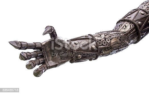 istock Hand of Metallic cyber or robot made from Mechanical ratchets. 535455713