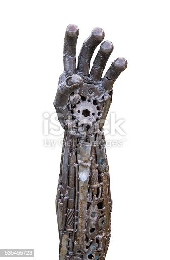 istock Hand of Metallic cyber or robot made from Mechanical ratchets. 535455723
