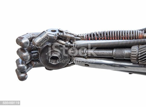 istock Hand of Metallic cyber or robot made from Mechanical ratchets. 535469119