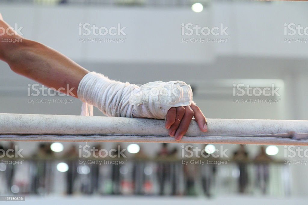 hand of original Thai boxing stock photo