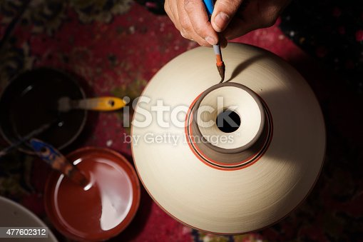 istock Hand of Pottery Craftsman Painting Terracotta 477602312