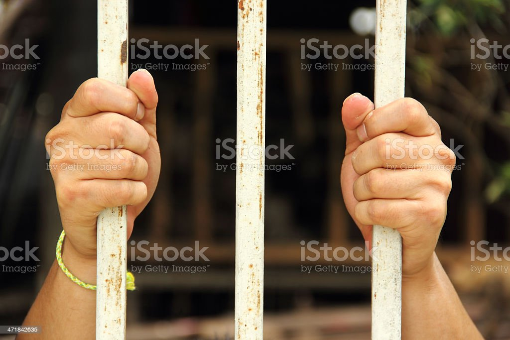 hand of prison in jail royalty-free stock photo