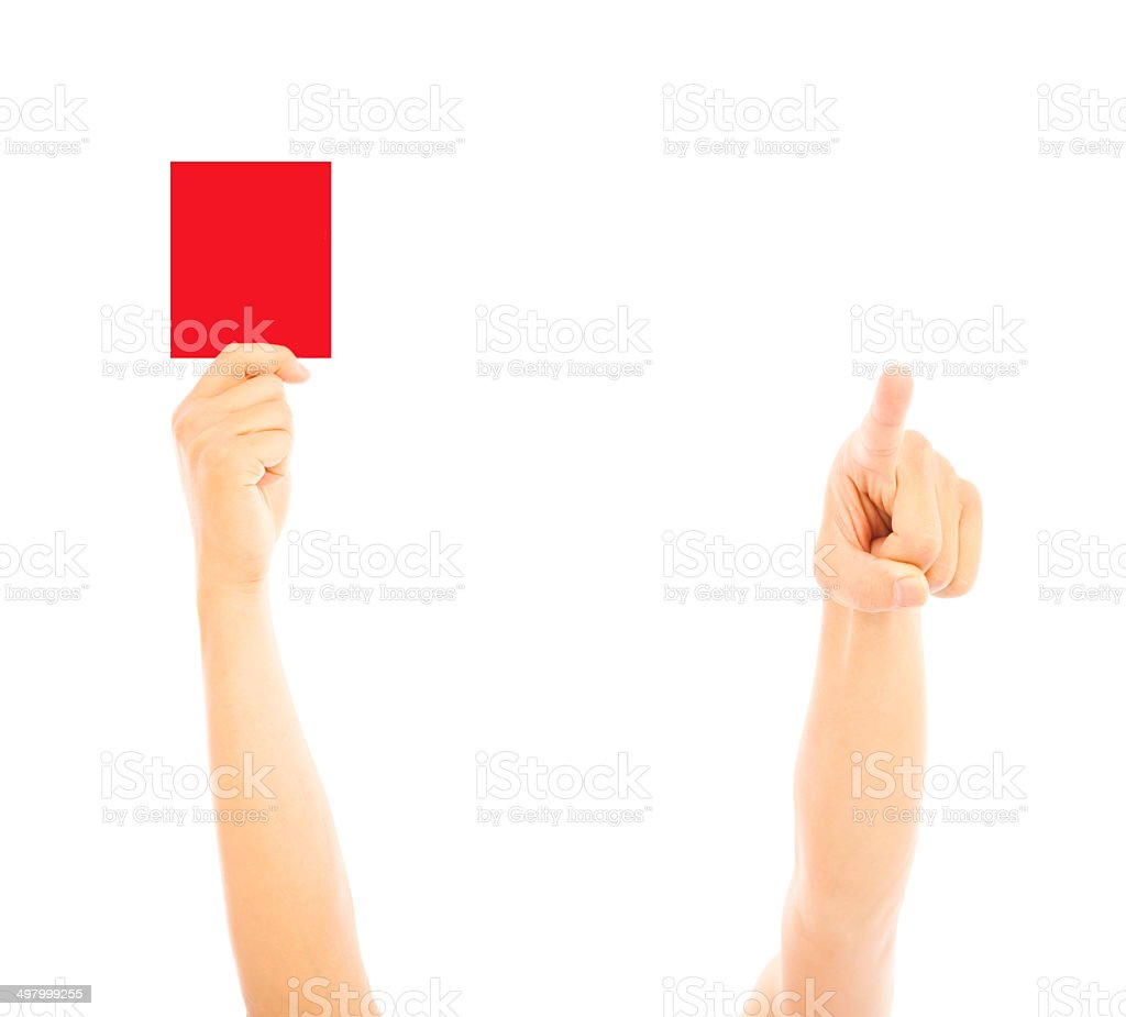 Hand of referee with red card and point the direction stock photo