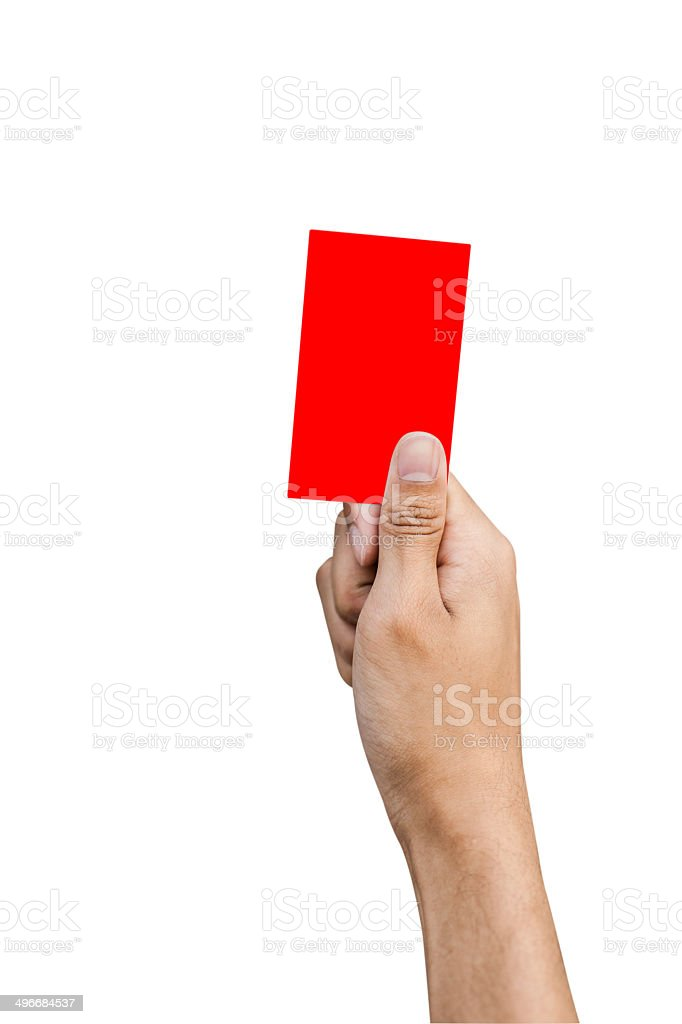 Hand of referee with red card isolated on white background stock photo