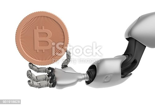 istock Hand of Robot holding Bitcoin. Isolate on white. Crypto Currency. 3D render. 931918628