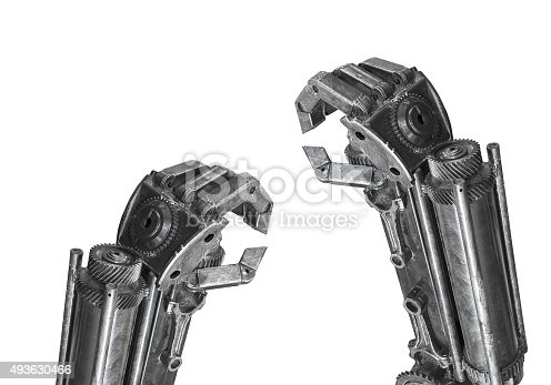 istock Hand of Robot sculpture made from scrap metal isolated 493630466