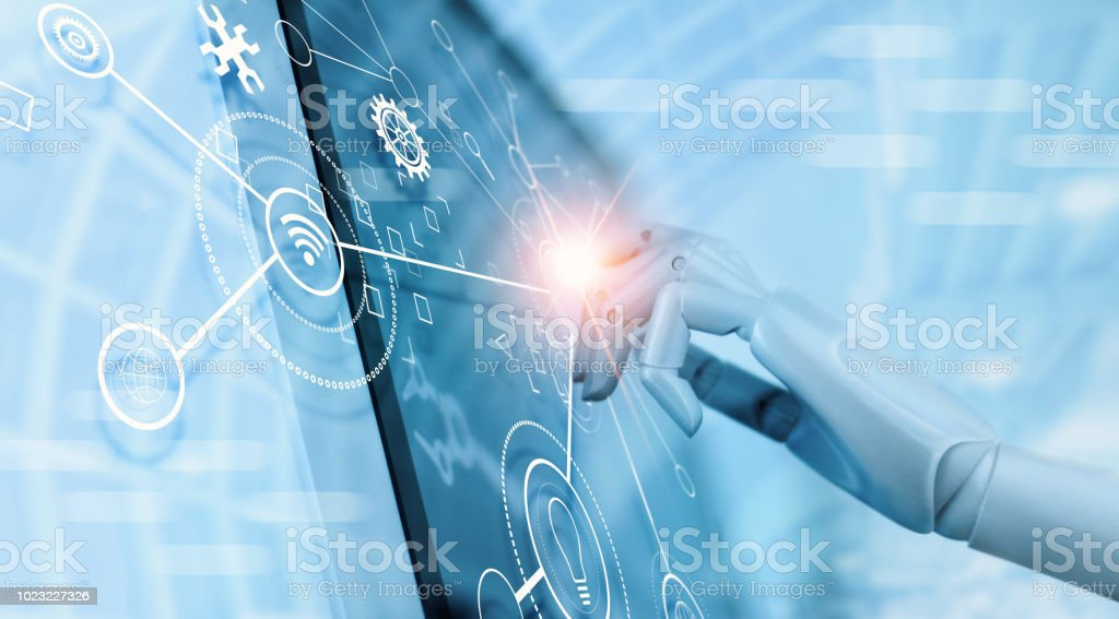 Hand of robot using over the interface virtual screen to check status and control automation robotics arms machine in intelligent factory industrial with icon flow and data exchange in manufacturing technology. AI. Futuristic technology and industry 4.0 c stock photo