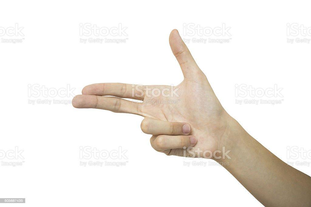 hand of show gun isolated stock photo