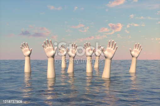 3d rendering of Hand of sinking people on the sea. Rescue concept. Wavy sea and sky.