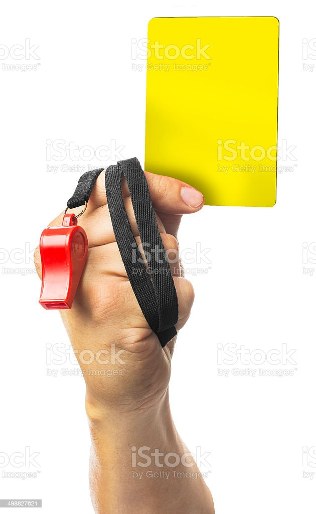 hand Of Soccer Referee Showing Yellow Card On White Background stock photo