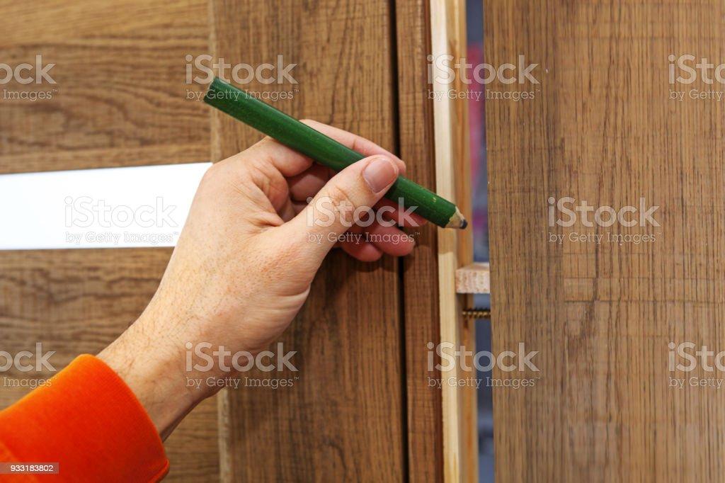 Hand of the carpenter stock photo