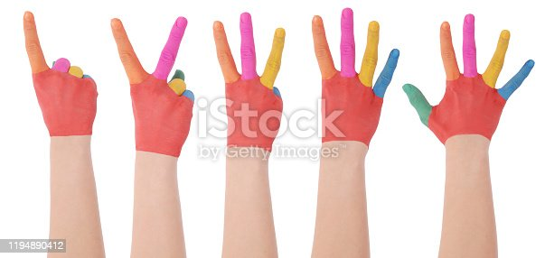 693519466 istock photo Hand of the child painted watercolor which shows a one, two, three, four, five 1194890412
