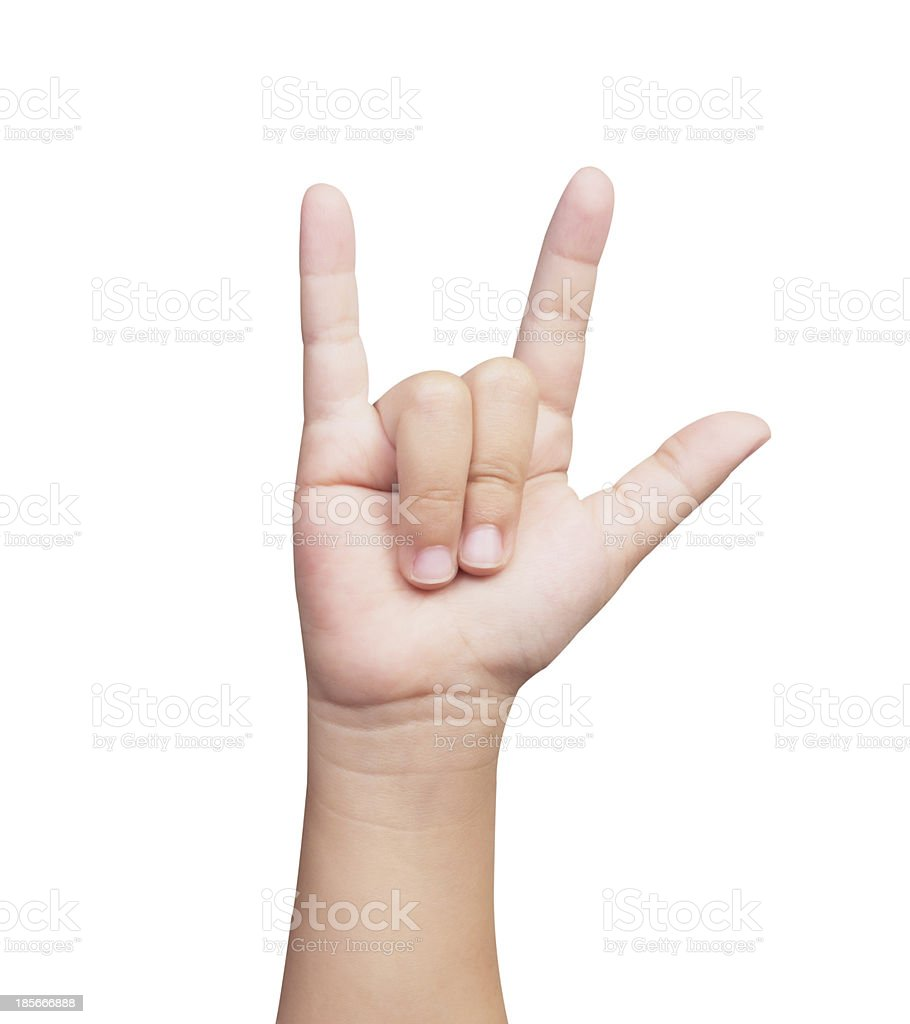 hand of the child sign language I LOVE YOU royalty-free stock photo
