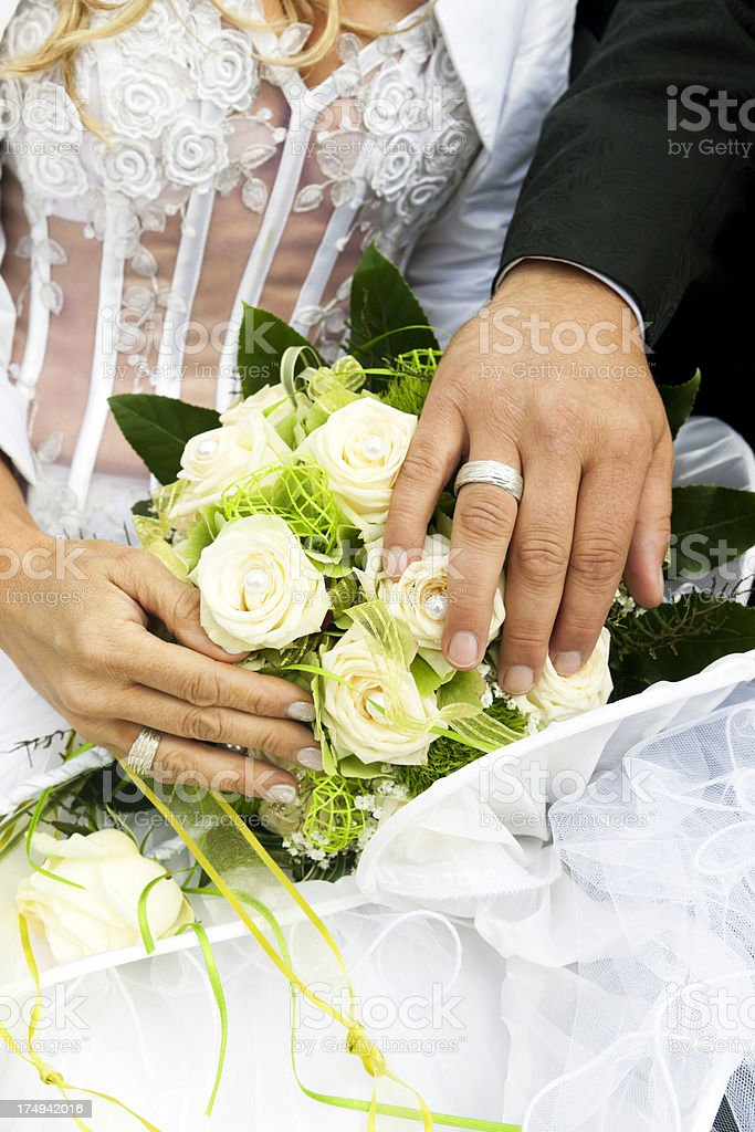 Hand Of The Groom And Bride With Wedding Rings royalty-free stock photo